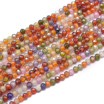 Cubic Zirconia Beads Strands, Faceted, Round, Mixed Color, 2mm, Hole: 0.5mm; about 169pcs/strand, 15.7 inches(40cm)(X-G-G792-47-A)