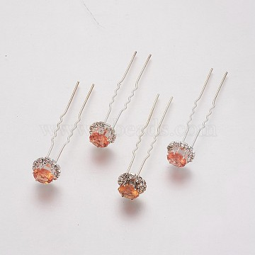 (Defective Closeout Sale), Lady's Hair Forks, with Silver Color Plated Iron Findings and Rhinestone, Flower, Topaz, 72mm(PHAR-XCP0001-B01)