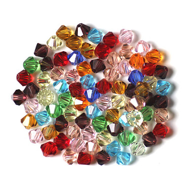 Imitation Austrian Crystal Beads, Grade AAA, Faceted, Bicone, Mixed Color, 6x6mm, Hole: 0.7~0.9mm(SWAR-F022-6x6mm-M)