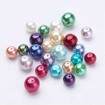 Eco-Friendly Dyed Glass Pearl Round Bead Strands, Cotton Cord Threaded, Mixed Color, Mixed Color, 8~10mm, Hole: 0.7mm(HY-X0006-8-10mm)