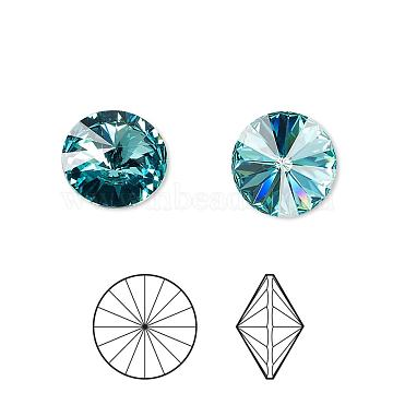 Austrian Crystal Rhinestone Cabochons, Crystal Passions, Foil Back, Faceted Rivoli, 1122, 263_Light Turquoise, 10.187~10.540mm(1122-SS47-F263)