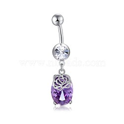 Brass Cubic Zirconia Navel Ring, Belly Rings, with Use Stainless Steel Findings, Cadmium Free & Lead Free, Oval, Dark Orchid, 43mm, Pin: 1.5mm(AJEW-EE0004-45B)
