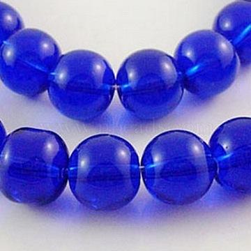 6mm Blue Round Glass Beads
