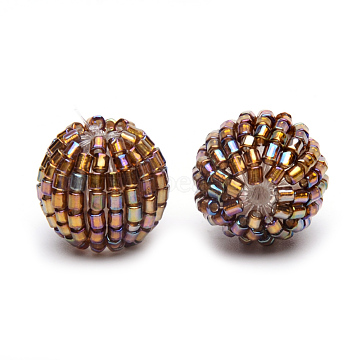 Handmade Woven Seed Beads, Round, Saddle Brown, 13.5~14x12mm, Hole: 1.5mm(X-WOVE-S108-01B-14mm)