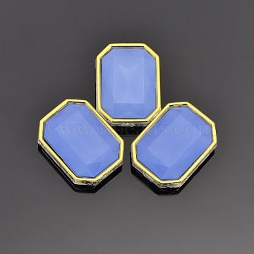 Sew on Rhinestone, Multi-strand Links, Taiwan Acrylic, Golden Plated, Garment Accessories, Rectangle, Cornflower Blue, 12x10x6mm, Hole: 1mm(X-SA12-8x10-ACG-H15)