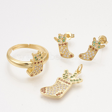 Brass Cubic Zirconia Pendants & Stud Earrings & Adjustable Rings Jewelry Sets, Christmas Socks, Golden, 23.5x11.5x2mm, hole: 3mm; 14x7.5mm, Pin: 0.7mm; Size 8, 18mm(SJEW-S043-12)
