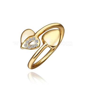 Cute Heart Tin Alloy Czech Rhinestone Finger Rings For Women, Golden, Size 8, 18.1mm(RJEW-BB14194-B-8G)