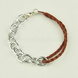 Bracelets tressés de mode, avec cordon en cuir pu, chaînes en aluminium et alliage homard fermoirs griffe, marron, 195mm(X-BJEW-JB00848-09)