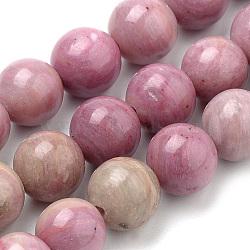 perles de rhodochrosite naturel brins, arrondir, 8 mm, trou: 1 mm; environ 47 perle / brin, 15.7(G-S259-08-8mm)