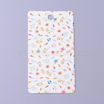 Cardboard Earring Display Cards, Rectangle with Flower Pattern, White, 9x5x0.04cm, Hole: 1.5mm(CDIS-F003-04A)