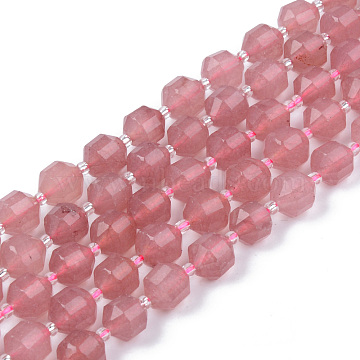 Natural Chalcedony Beads Strands, Imitation Strawberry Quartz, Round, Faceted, Dyed & Heated, 8~9x10mm, Hole: 1.2mm; about 33~35pcs/strand, 15.16inches(38.5cm)(G-R482-29-10mm)