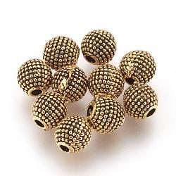 Perles en alliage, rond, Or antique, 6mm, Trou: 1.6mm(PALLOY-E454-51AG)