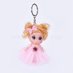 Doll Keychain, with Iron Key Ring and Chain and Plastic Findings, Pearl Pink, 140~145mm(KEYC-L018-F01)
