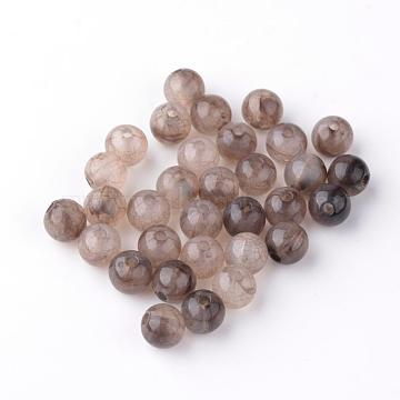 Crackle Acrylic Beads, Two Tone Color, Round, Camel, 8mm, Hole: 1.5~2mm; about 1840pcs/500g(OACR-Q135-8mm-05)