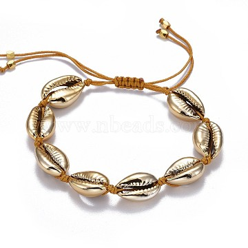 Cowrie Shell Braided Bead Bracelets, with Nylon Thread Cord and Brass Beads, Golden, 2 inches~3-1/8 inches(5~8cm)(BJEW-JB04325)