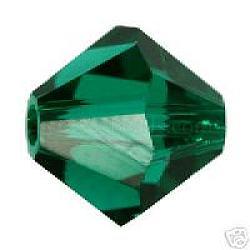 Perles de verre tchèques, facette, Toupie, émeraude, 8 mm de diamètre, trou: 1 mm; 144 PCs / sac(302-8mm205)