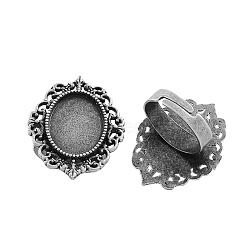 fer réglable composants de bague vintage paramètres de lunette alliage cabochon, sans plomb et sans cadmium, argent antique, 17x5 mm; plateau ovale: 18x13 mm(X-PALLOY-Q300-09AS-NR)