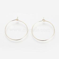Brass Hoop Earrings, Ring, Light Gold, 24 Gauge, 24x20x0.5mm(X-KK-S327-09KC)