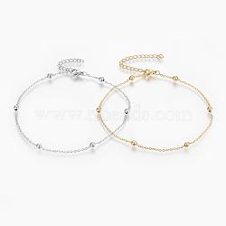 """Bracelets de cheville en 304 acier inoxydable, avec fermoir pince de homard, perles rondes et chaînes de câbles, couleur mixte, 9"""" (230 mm); 1.5mm(AJEW-H013-01)"""