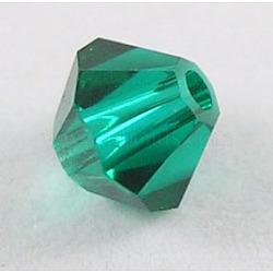 Perles de verre tchèques, facette, Toupie, verte, 6 mm de diamètre, Trou: 0.8mm, 144 pcs / brut(302_6mm205)