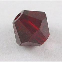 Perles de verre tchèques, facette, Toupie, rouge foncé, 6 mm de diamètre, Trou: 0.8mm, 144 pcs / brut(302_6mm208)