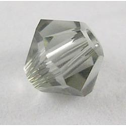 Perles de verre tchèques, facette, Toupie, darkgrey, 6 mm de diamètre, Trou: 0.8mm, 144 pcs / brut(302_6mm215)