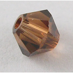 Perles de verre tchèques, facette, Toupie, brun, 6 mm de diamètre, Trou: 0.8mm, 144 pcs / brut(302_6mm220)