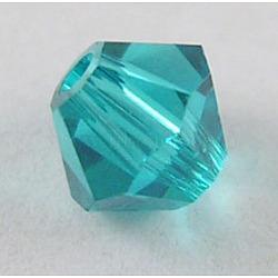 Perles de verre tchèques, facette, Toupie, turquoise, 6 mm de diamètre, Trou: 0.8mm, 144 pcs / brut(302_6mm229)