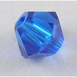 Perles de verre tchèques, facette, Toupie, bleu, 6 mm de diamètre, Trou: 0.8mm, 144 pcs / brut(302_6mm243)