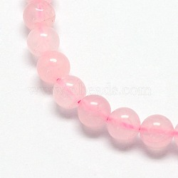 Natural  Rose Quartz Beads Strands, Round, 4mm, Hole: 0.8mm; about 92pcs/strand, 15