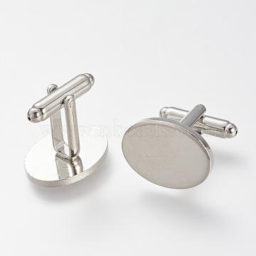 Brass Cuff Buttons, Cufflink Findings for Apparel Accessories, Platinum, 26mm(KK-T014-137P)