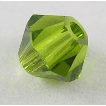 6mm Olive Bicone Glass Rhinestone Beads