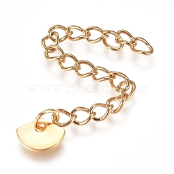 304 Stainless Steel Chain Extender, Curb Chain, with Charms, Fan, Golden, 57mm, Link: 4x3x0.5mm(STAS-G221-25G)