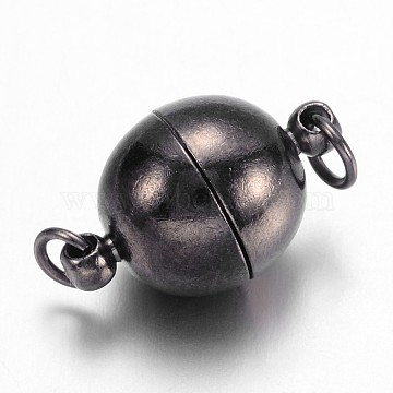 Brass Magnetic Clasps, Nickel Free, Round, Gunmetal, 17.5~19x12mm, Hole: 2mm(X-KK-MC022-B-NF)