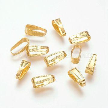 Brass Snap on Bails, Lead Free, Golden, 11x4mm(X-KK-H338-G-LF)