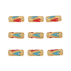 Perles en émail d'alliage de style chinois, Tube, or, colorées, 13.5x5mm, Trou: 1.6mm(X-ENAM-L015-08E-G)
