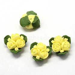 Handmade Porcelain Cabochons, China Clay Beads, Flower, Yellow, 15.5~17.5x15~17x8~9mm(X-PORC-S1003-22J)