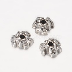 Tibetan Style Alloy Bead Caps, Cadmium Free & Lead Free, Antique Silver, about 7mm in diameter, 3mm thick, hole: 1mm(X-LF0668Y)