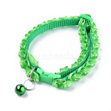 Adjustable Polyester Lace Dog/Cat Collar, Pet Supplies, with Iron Bell and Polypropylene(PP) Buckle, Green, 21~35x0.9cm; Fit For 19~32cm Neck Circumference(MP-K001-B02)