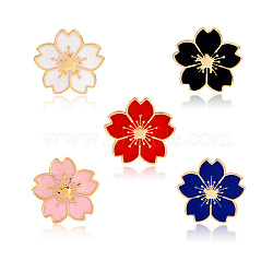 Creative Zinc Alloy Brooches, Enamel Lapel Pin, with Iron Butterfly Clutches or Rubber Clutches, Sakura Flower, Golden, Mixed Color, 17x18mm; Pin: 1mm, 5pcs/set(JEWB-Q031-093)