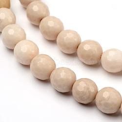 """Facettes bois pétrifié naturel rondes brins de perles, 8mm, trou: 1mm; environ 50 pcs/chapelet, 14.9""""(G-L377-35-8mm)"""