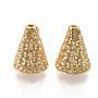 Brass Bead Cones, Nickel Free, Real 18K Gold Plated, Cone, Apetalous, 7.5x6mm, Hole: 0.8mm, Inner Diameter: 4.5mm