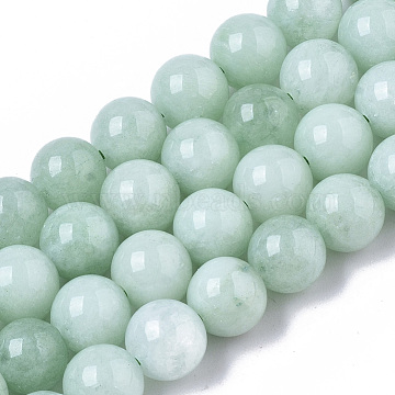 Natural Chalcedony Beads Strands, Dyed & Heated, Imitation Myanmar Jade/Burmese Jade Color, Round, Aquamarine, 8.5x8mm, Hole: 1mm; about 47pcs/strand, 15.08 inches(G-T129-05)