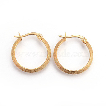 Vacuum Plating 304 Stainless Steel Hoop Earrings, Textured, Golden, 22.5x22x3mm; Pin: 1.2x0.7mm(EJEW-L215-25A)