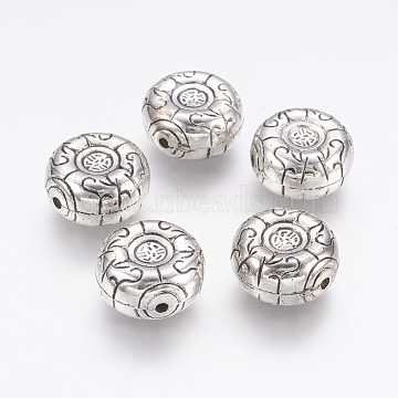 CCB Plastic Beads, Flat Round, Antique Silver, 17x9mm, Hole: 2mm(CCB-G004-02AS)