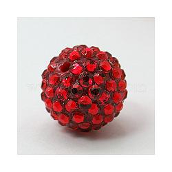 Бусины со стразами из смолы, DIY разделители для бусины для серег, круглые, красные, 24 мм, отверстие : 2.5 мм(X-RESI-M018-35)