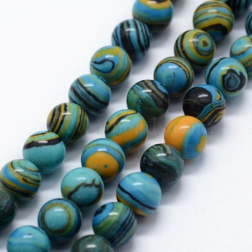 Synthetic Malachite Beads Strands, Dyed, Round, Sky Blue, 6mm, Hole: 0.5mm; about 63pcs/strand,  14.96 inches(38cm)(G-I199-32-6mm-E)