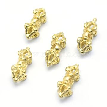Brass Beads, Dorje Vajra for Buddha Jewelry, Lead Free & Cadmium Free & Nickel Free, Raw(Unplated), 14x7x7mm, Hole: 1.5mm(KK-G319-52C-RS)