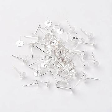 Iron Flat Base Ear Stud Findings, Silver Color Plated, 12x6mm, Pin: 0.7mm(X-E013-S)