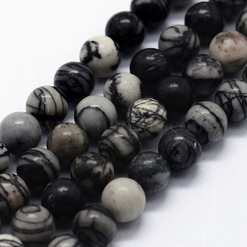 Natural Black Silk Stone/Netstone Beads Strands, Round, 6~6.5mm, Hole: 0.5mm; about 63pcs/strand,  14.96inches(38cm)(X-G-I199-11-6mm)